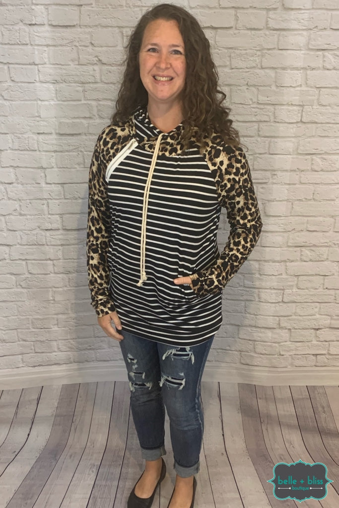 Lightweight Dual Hoodie With Pockets - Leopard Stripe