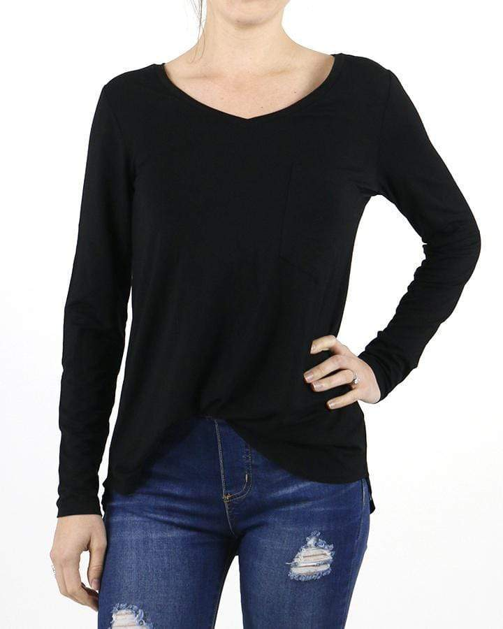Grace and Lace Long Sleeve Perfect Pocket Tee - Black