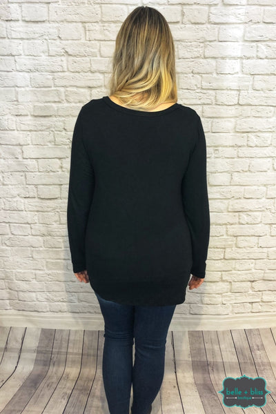 Long Sleeve Twist Tunic - Black Tops & Sweaters