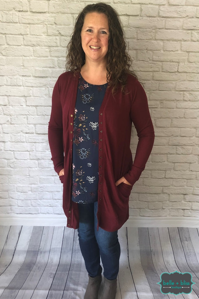 Long Snap Cardigan - Burgundy Tops & Sweaters