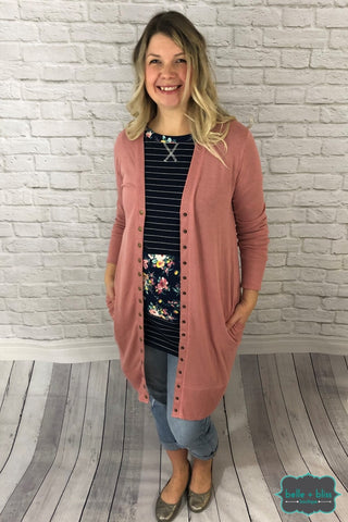Long Snap Cardigan - Dusty Rose Tops & Sweaters
