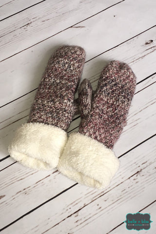 Marled Mittens - Burgundy/grey Accessories