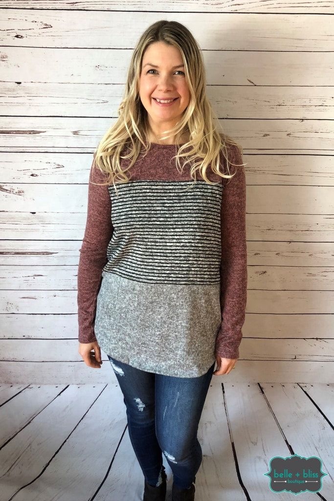 Mauve Colourblock Tunic Tops & Sweaters