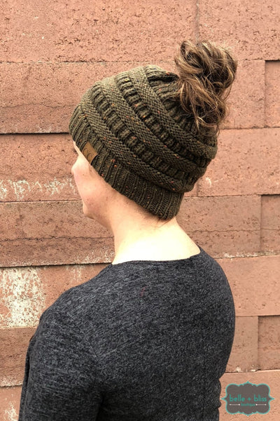 Messy Bun Confetti Knit Cc Toque - Olive Accessories