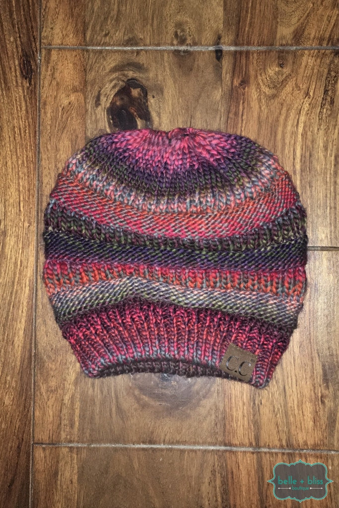 Messy Bun Multi Stripe Knit Cc Toque - Cranberry Mix Accessories