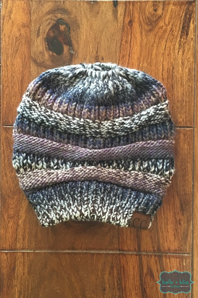 Messy Bun Multi Stripe Knit Cc Toque - Mauve Mix Accessories