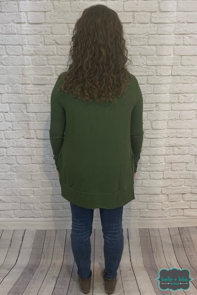 Mid Length Snap Cardigan With Pockets - Army B+B Crew