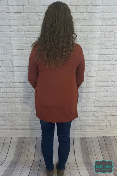 Mid Length Snap Cardigan With Pockets - Brick B+B Crew