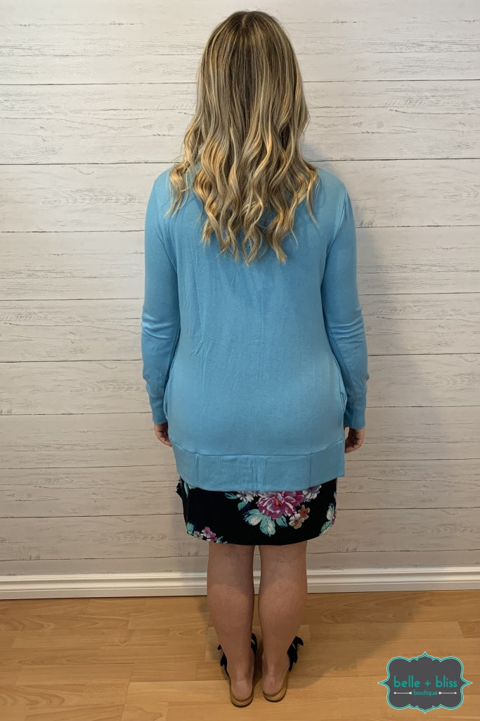 Mid Length Snap Cardigan With Pockets - Bright Blue Tops & Sweaters