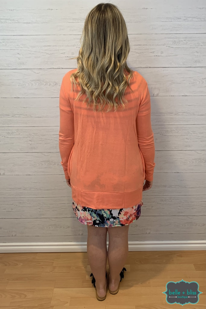 Mid Length Snap Cardigan With Pockets - Bright Coral Tops & Sweaters