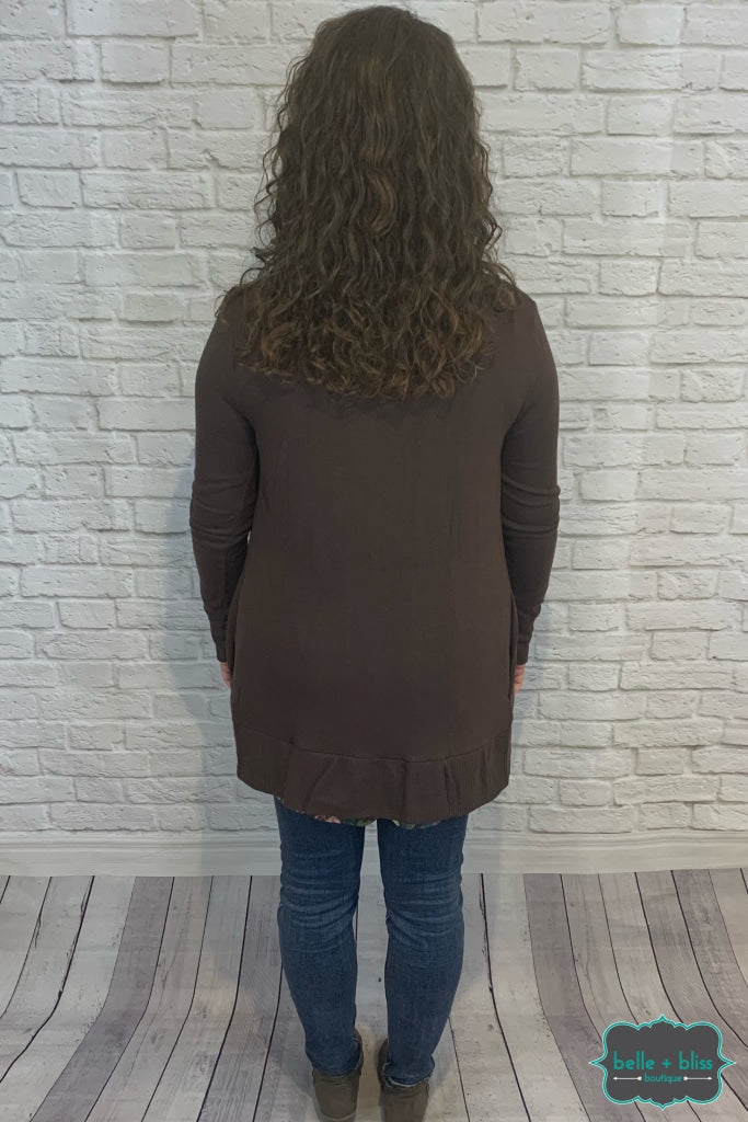 Mid Length Snap Cardigan With Pockets - Coffee B+B Crew