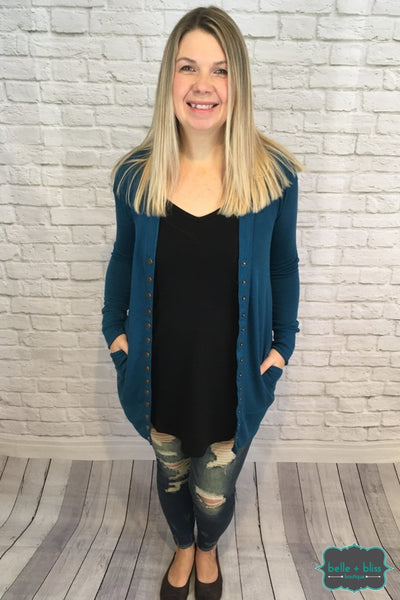 Mid Length Snap Cardigan With Pockets - Dark Teal B+B Crew