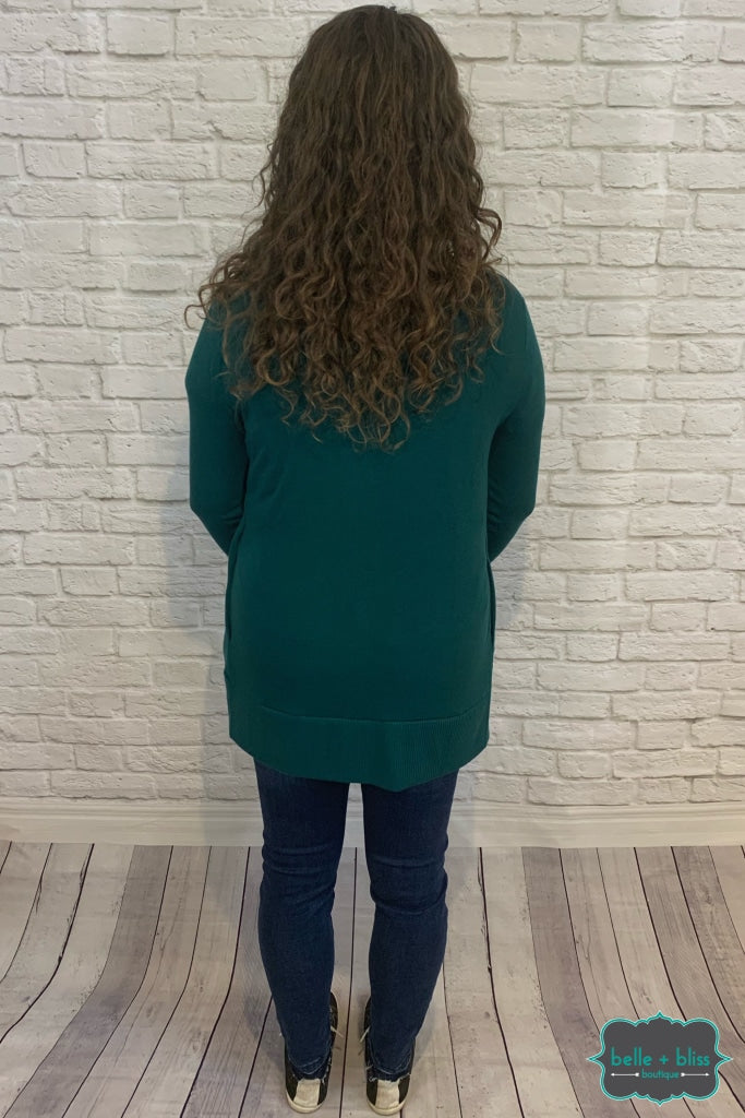 Mid Length Snap Cardigan With Pockets - Hunter Green B+B Crew