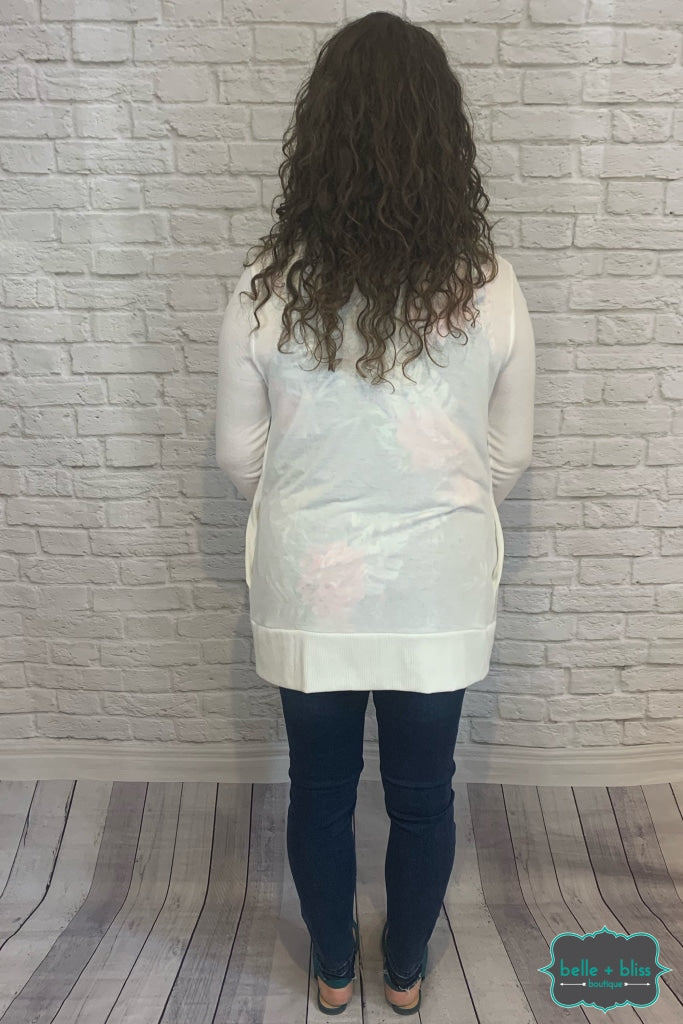 Mid Length Snap Cardigan With Pockets - Ivory B+B Crew