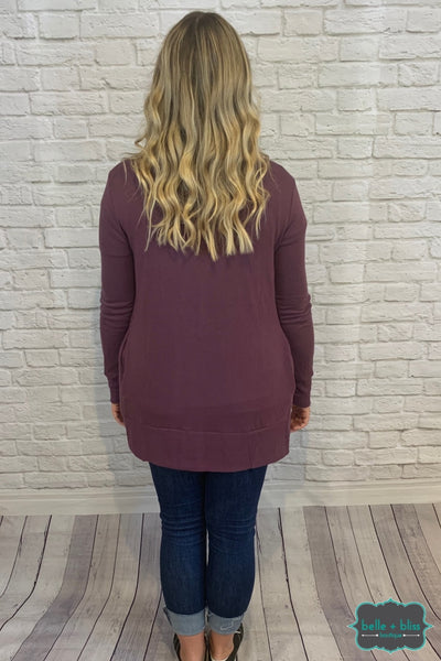 Mid Length Snap Cardigan With Pockets - Plum B+B Crew