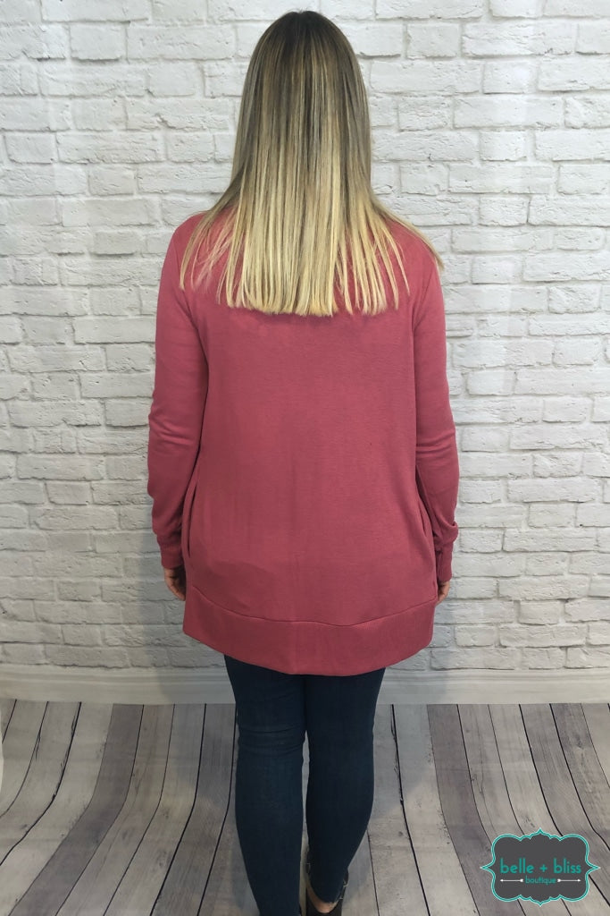 Mid Length Snap Cardigan With Pockets - Rose B+B Crew