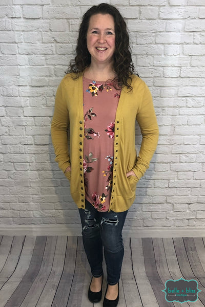 Mid Length Snap Cardigan With Pockets - Spring Mustard B+B Crew