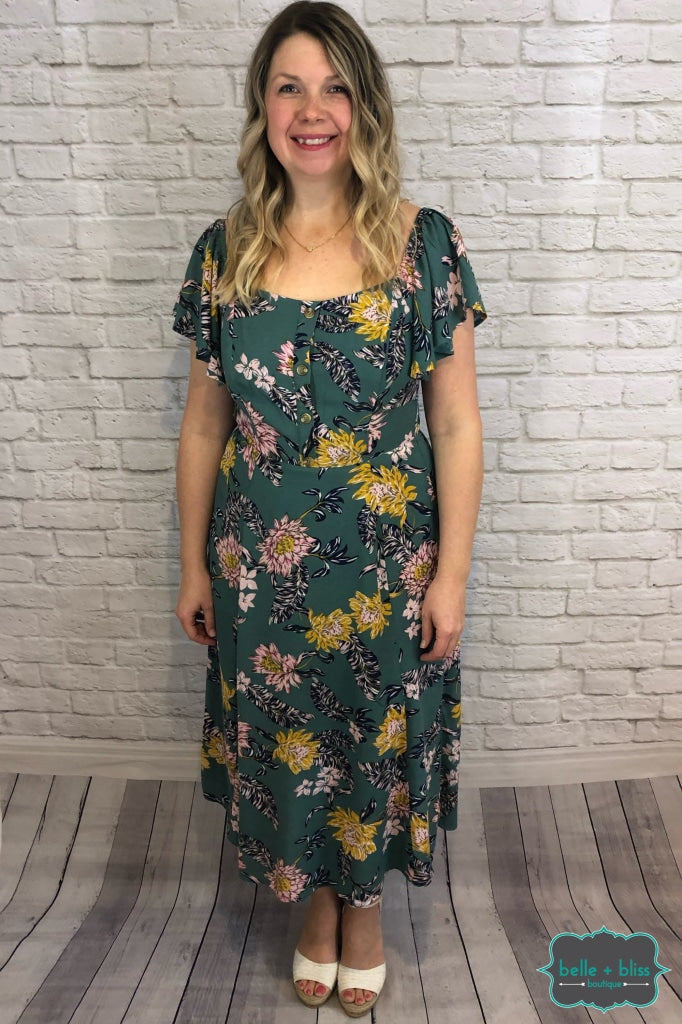 Midi Floral Dress With Flutter Sleeves - Blue Sage B+B Crew