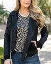 ***PRE-ORDER*** Grace and Lace Move Free Leather Look Moto Jacket - Black