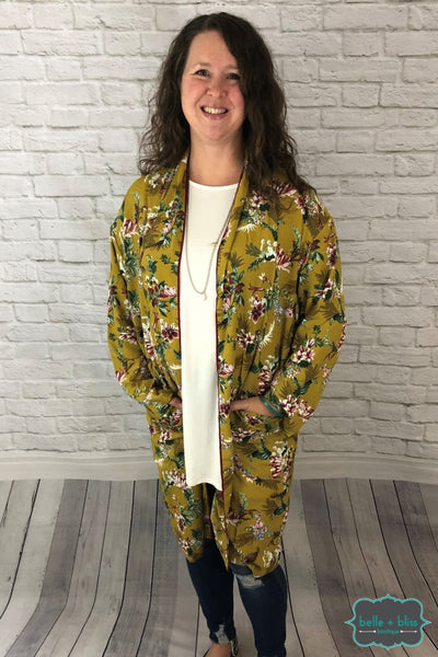 Mustard Floral Kimono With Pockets Tops & Sweaters