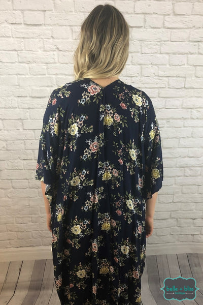 Navy Floral Kimono Tops & Sweaters