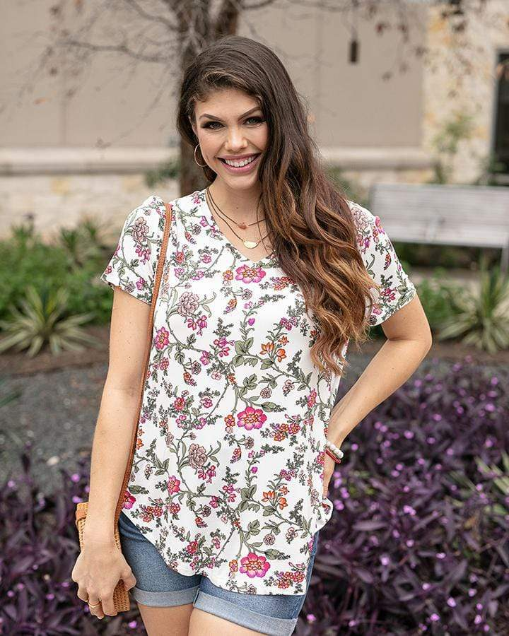 Grace & Lace Perfect V-Neck Tee - Floral Vine