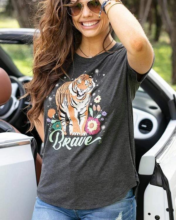 Grace & Lace Perfect Crew Neck Tee - Tiger Print