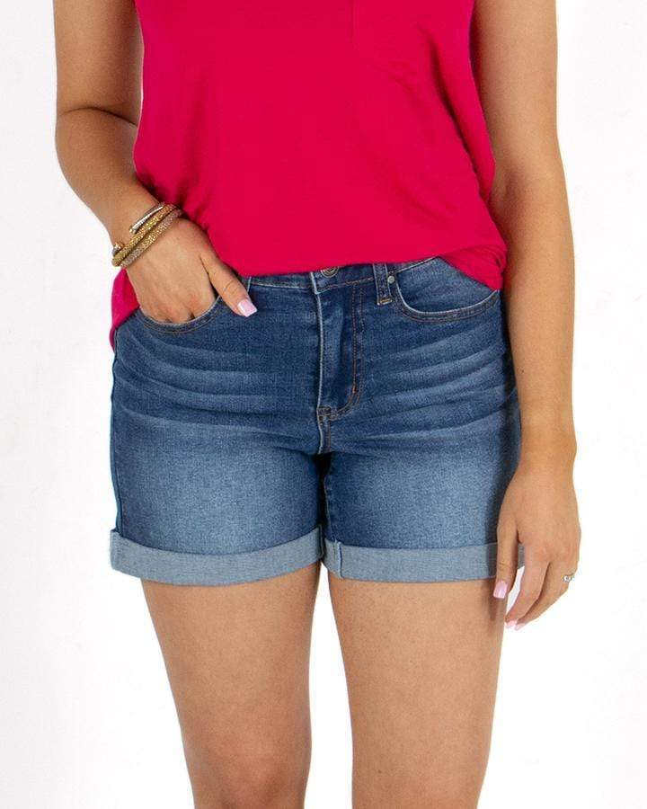 "Grace & Lace Non-Distressed 5"" Super Stretch Shorts - Mid-Wash"