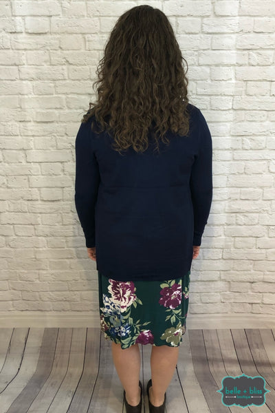 Open Front Knit Cardigan With Pockets - Navy B+B Crew