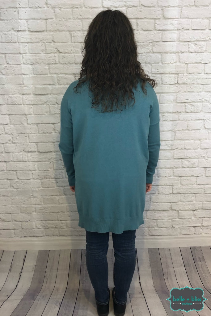Oversized Hi Low V Neck Sweater - Dusty Teal B+B Crew