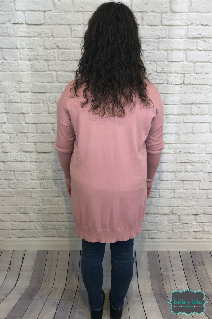 Oversized Hi Low V Neck Sweater - Light Rose B+B Crew
