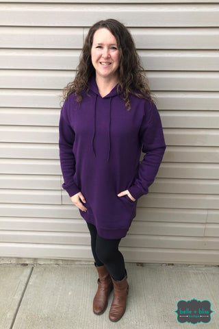 Oversized Hoodie With Pockets - Purple Tops & Sweaters