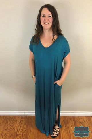 Oversized Maxi Dress With Pockets - Teal Dresses & Skirts