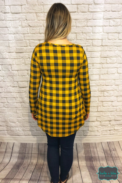 Plaid Babydoll - Mustard And Charcoal Tops & Sweaters