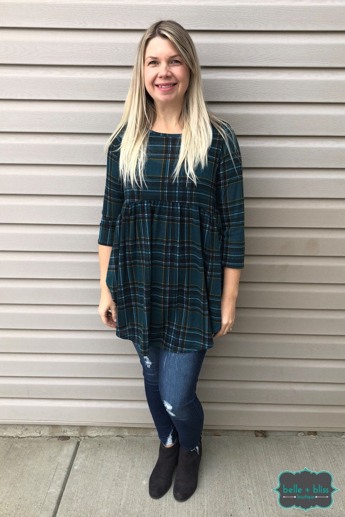 Plaid Babydoll Tunic Tops & Sweaters