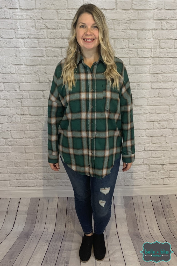 Plaid Button Up Top - Hunter Green B+B Crew
