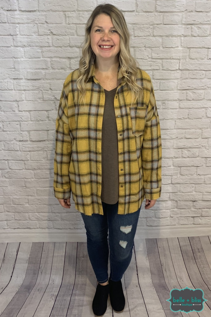Plaid Button Up Top - Mustard B+B Crew