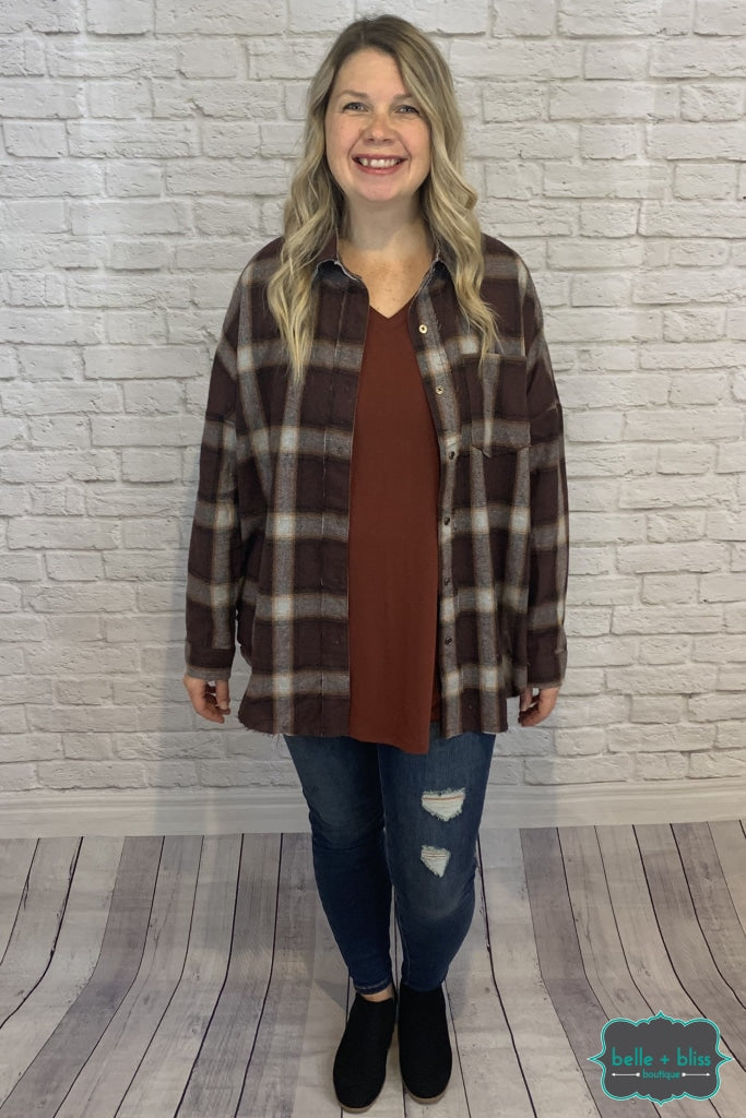 Plaid Button Up Top - Raisin B+B Crew