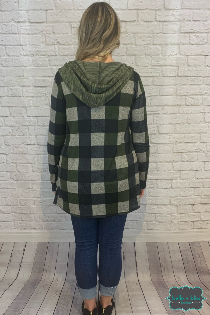 Plaid Cardiagn With Hood And Pockets - Olive B+B Crew