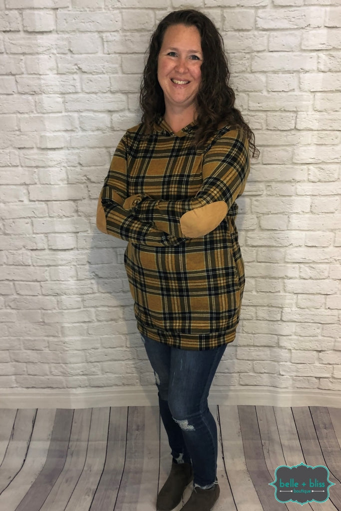 Plaid Hoodie With Pockets And Elbow Patches - Mustard Tops & Sweaters