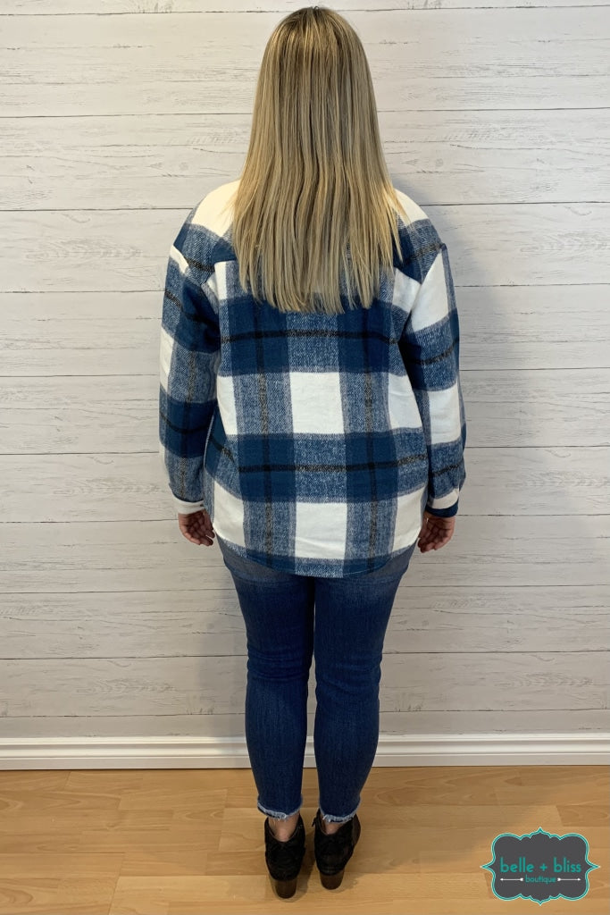 Plaid Shacket With Pockets - Navy Tops & Sweaters