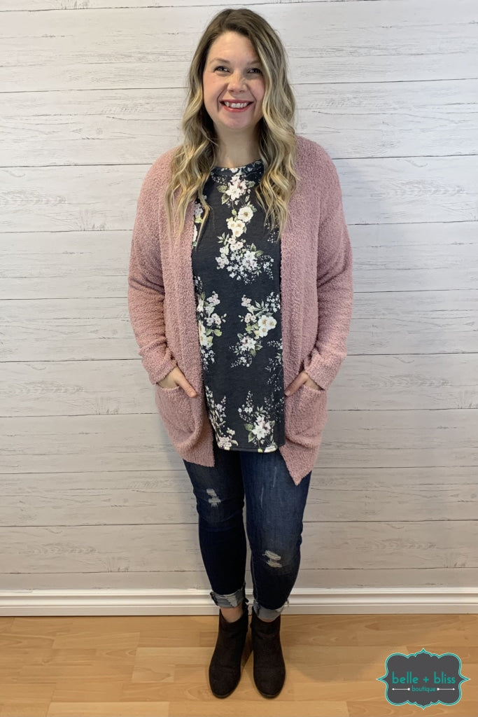 Plush Cardigan With Pockets - Pink Tops & Sweaters
