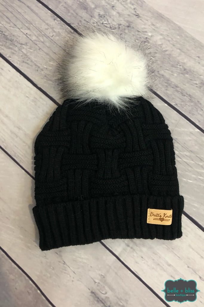 Plush Lined Knit Toque With Faux Fur Pom - Black Accessories
