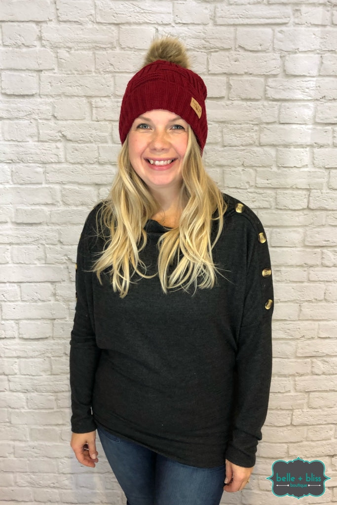 Plush Lined Knit Toque With Faux Fur Pom - Burgundy Accessories