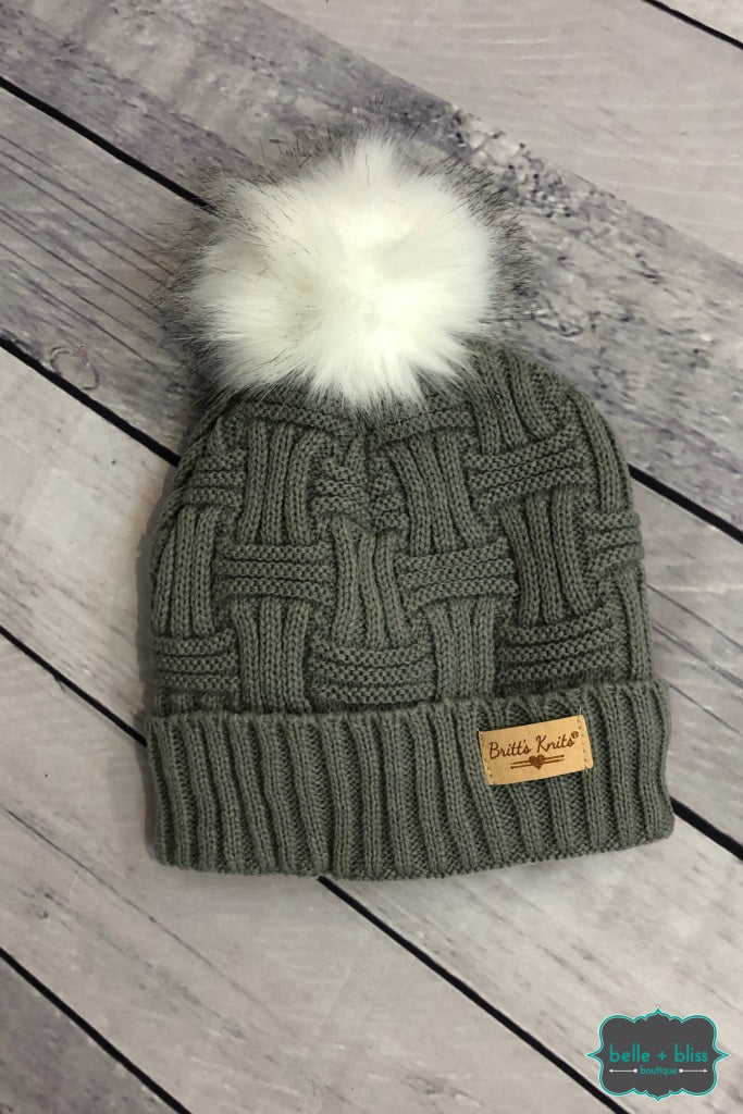Plush Lined Knit Toque With Faux Fur Pom - Grey Accessories