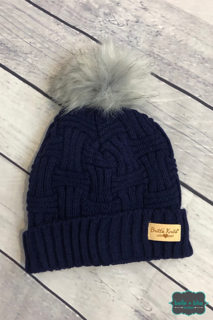 Plush Lined Knit Toque With Faux Fur Pom - Navy Accessories