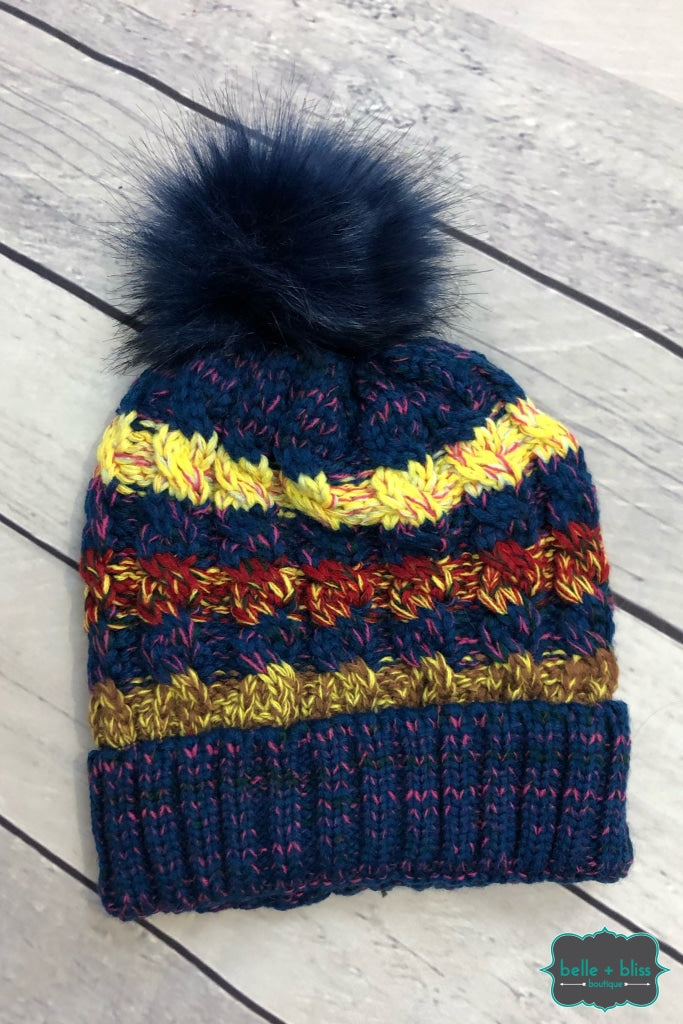 Plush Lined Striped Knit Toque With Faux Fur Pom - Navy B+B Crew