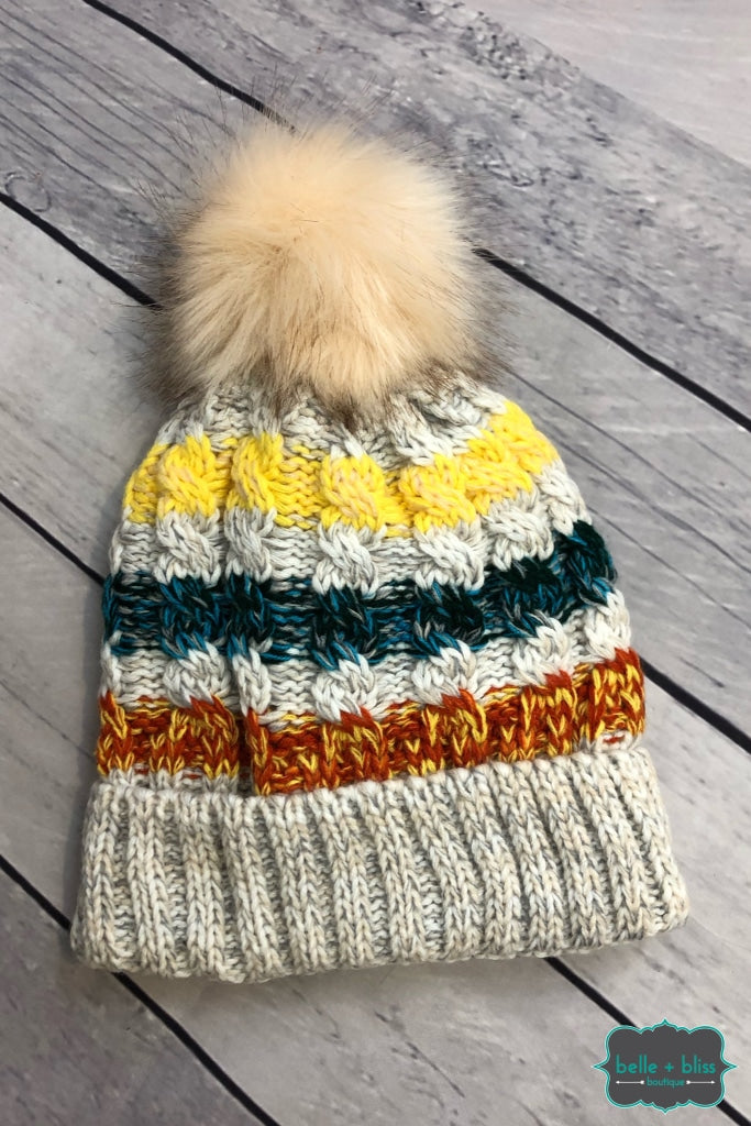 Plush Lined Striped Knit Toque With Faux Fur Pom - Oatmeal B+B Crew