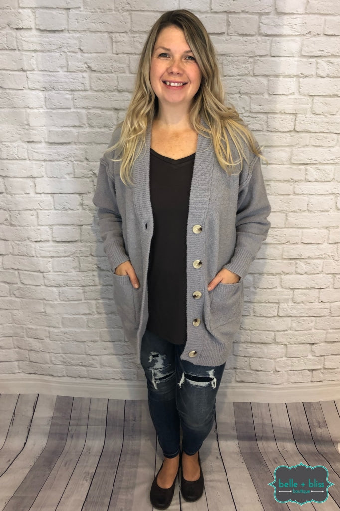 Plush Oversized Cardigan With Pockets And Buttons - Grey Tops & Sweaters