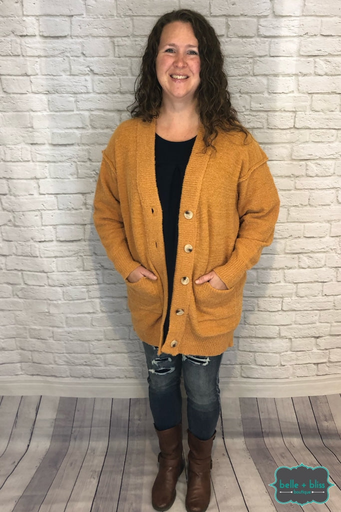 Plush Oversized Cardigan With Pockets And Buttons - Mustard Tops & Sweaters